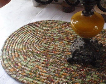 Green, Gold and Tan Coiled Table Mat, Hot Pad or Trivet For Your Table - OVAL - Handmade by Me