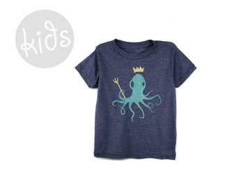 King Octopus Tee - Crew Neck Short Sleeve Graphic Tshirt in Heather Navy Blue and Mint - Baby Kids & Youth