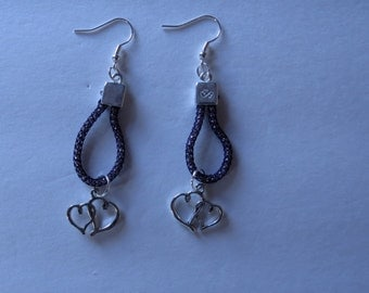 Shimmery Double  Heart Earrings Pierced