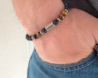 Greek key bracelet - Black onyx mat and tiger eye beads - Greek jewelry - Men's jewelry - Blacks stones - Made in Greece