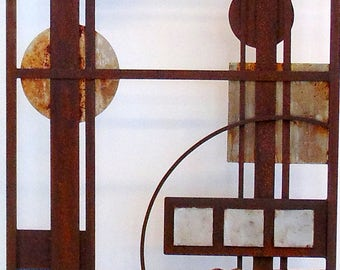 Eternity Panel -Freestanding Metal Sculpture Panel 6 feet tall Recycled Steel Metal Art