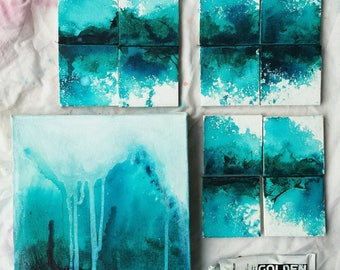 Abstract sea scape collection - in shades of sea blue and green