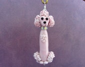 Reserved For CC - Pink Poodle Pendant - Lampwork Glass SRA