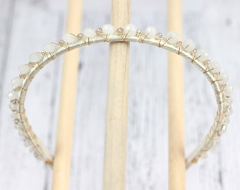 White and sparkling crystal and glass head band. Beaded ivory tiara crown for bride or bridesmaids. 100% Comfortable hair band  hb064