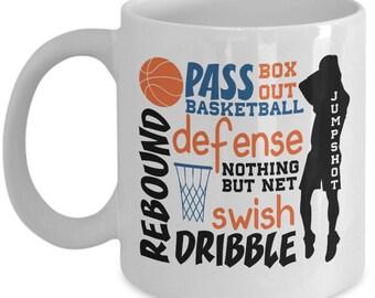 Basketball Words - Novelty Gift Mug - Basketball Lovers Mug - Funny Hoops Mug - Basketball Terms - Gift for Basketball lovers - Gift Mug