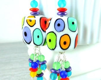 Fun Funky Colorful Square Lampwork Glass Dangle Earrings, Whimsical Jewelry, Rainbow Multicolor Spotted Earrings, Bright Colors, Polka Dots
