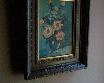 Small Vintage Framed Print / Blue Vase w/ Pale Pink Roses / Still Life