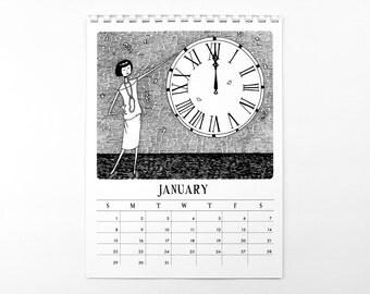 2017 Wall Calendar // 1920s style flapper doodle calendar