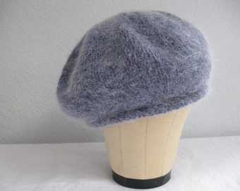 Blue Beret. Hand Knit Merino Wool and Angora Tweed. Winter Accessories.