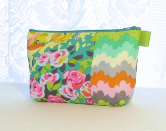Meadow Blooms Amy Butler Fabric Large Cosmetic Bag Zipper Pouch Padded Makeup Bag Cotton Zip Pouch Violette Orange Yellow Turquoise Floral