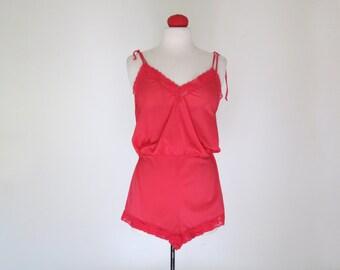 LITTLE DEVIL // fiery red 70s romper lingerie