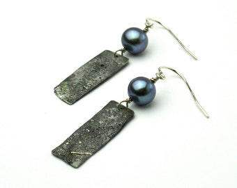 Reticulated Sterling silver and Freshwater Pearls, Wabi Sabi, Raw texture, Dangle Pearls earrings