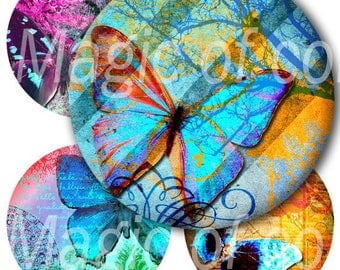 Digital Collage of  Bright Blue  Butterfly Illustration - 15  1.5x1.5 Inch Circle  JPG images - Digital  Collage Sheet