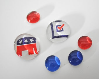 Republican Elephant magnet or push pin set - made from recycled magazines, political, hostess gift, voting, presidential, Washington DC