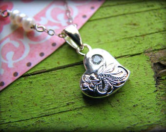 Whimsical Heart Charm Necklace - Floating Hawaiian Heirloom Sterling Silver Engraved - Gift Birthday Graduation 16th 21st 25th 30th 35th 40