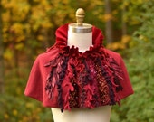 Red maroon Capelet/ Poncho/ Short Cape/ Refashioned boho accessory with ruffle collar and buttons closure