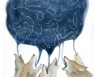 Coyote Song | Digital Print of Howling Coyotes on Paper