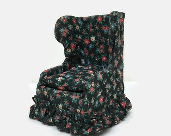 Vintage Miniature Chair - Living Room - Upholstered Wingback - Dollhouse Furniture