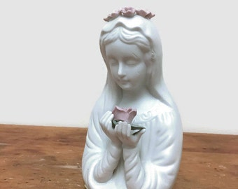 Vintage Virgin Mary Statue - Matte Bisque Blessed Mother with Rose - Pink and Matte White