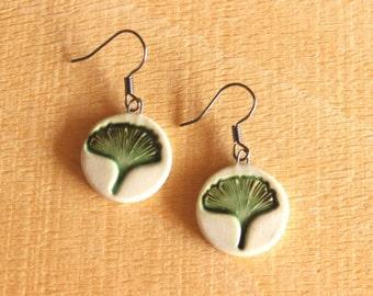 Ceramic GINKGO LEAF Earrings - Little Handmade Porcelain Ginkgo Leaf Earrings - Ready To Ship