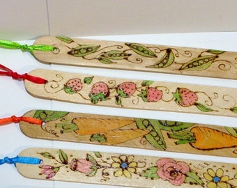 bookmark wood burned pyrography you choose style back can be personalized for free  .5x6 inches coordinating ribbon