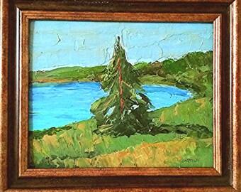 Framed Impressionist Painting Plein Air Landscape California Lake Art Lynne French 8x10