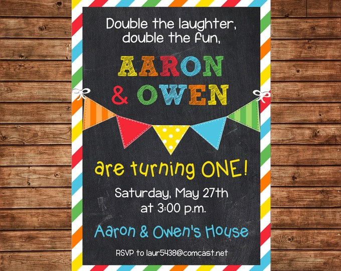Boy or Girl Twins Chalkboard Colorful Stripe Bunting Banner First party Birthday no photo Invitation - DIGITAL FILE