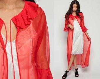 Sheer Robe Long Lingerie Jacket 70s Red Kimono Robe Maxi Lingerie RUFFLE Romantic Dressing Gown 1970s See Through Vintage Medium