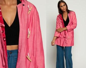 Hooded Jacket Duffle Coat 70s Jacket Toggle Hood BANDANA LINING Pink Vintage 1970s Hoodie Long Womens Bohemian Retro Medium
