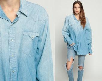 Ralph Lauren Shirt Denim Shirt 90s Blue Jean Shirt PEARL SNAP Ombre Grunge 1990s Long Sleeve Boyfriend Button Up Vintage Large