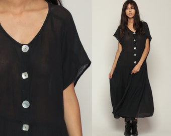 Sheer Black Dress Bohemian Maxi Grunge Boho 90s Gauze Gothic Tent High Waist Short Sleeve 1990s Vintage Button Up Large