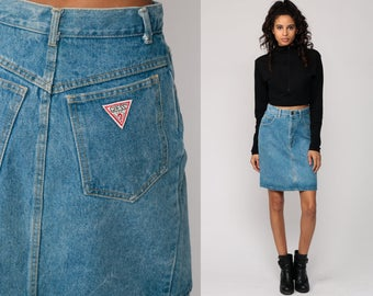 Jean Skirt GUESS Denim Mini Skirt Pencil Skirt Jeans 80s High Waisted Wiggle Retro Vintage Blue Hipster Small