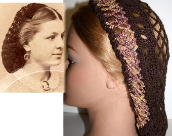 Civil War Hair Snood BROWN & Shimmer GOLD,Hairnet,reenactment,Day wear, Hair Snood,Costume,