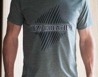 NEW CREATION- mens grey heather -christian t shirt