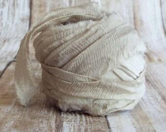 Chiffon Ribbon, Recycled Silk Chiffon Ribbon, Tiebacks, Baby Photography Prop, Wedding Invitations, Bridal Showers, Flowers, Dune