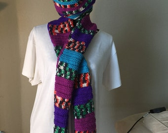 Ladies Multicolor Striped Scarf and Slouchy hat set Handmade Ready to ship