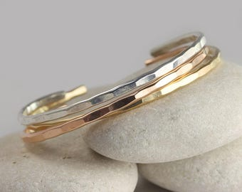 3 Medium Stacking Cuffs in Sterling Silver, Rose Gold and Yellow Gold Fill