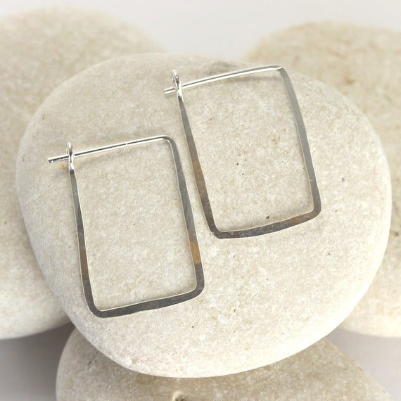 Small square silver earrings - hammered rectangle hoops in sterling silver from the Ophelia Collection