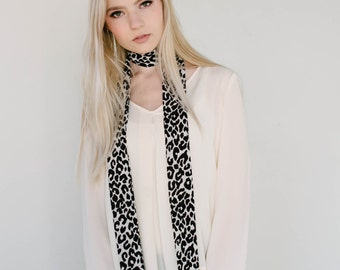 Leopard Print Long Skinny Scarf