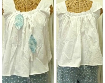 Tattered Feather Crop Top White Summer Blouse Size XS, Small Denim Cotton Boho Tribal Rustic