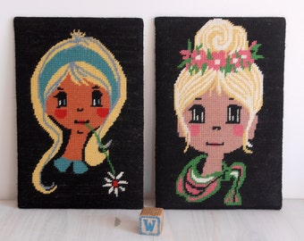 Vintage - Two cross stitch Girls - Big Wide Eyes - with flowers - bedroom - nursery decor - hippie
