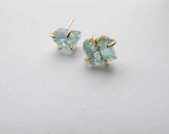 Raw Blue Aquamarine Crystal Earrings in 14k