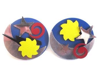 Vintage 80's Avon // Magnetic Moon and Stars Earrings
