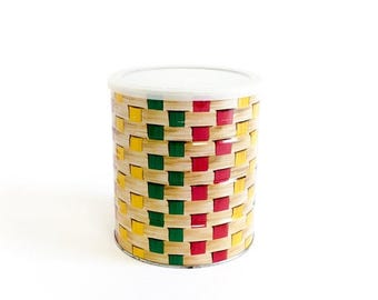 Shop Sale Vintage 1960s Tin Coffee Can with Lid VGC / Primary Colors, Basket Weave Pattern, 60s Kitchen Storage, Display,