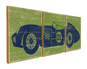 LARGE Vintage Race Car Print - Custom Made Rustic Sign - Man Cave or Boys Room Wall Art Decor #1