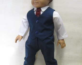 "Navy Dress Suit for 18"" Boy Dolls"