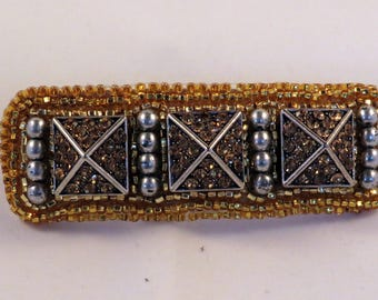 Gold and Silver Pyramid Bead Embroidered Barrette, Made in France Barrette Clip