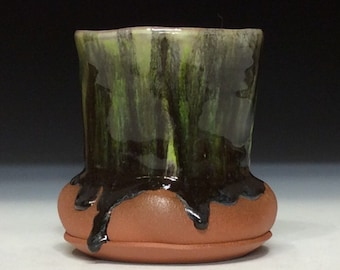 Northern lights drippy glaze cup