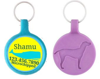 Blue and  Yellow Whale Personalized Dog ID Pet Tag Custom Pet Tag You Choose Tag Size & Colors