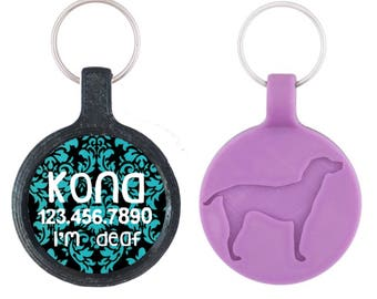 Blue and Black Damask Personalized Dog ID Pet Tag Custom Pet Tag You Choose Tag Size & Colors